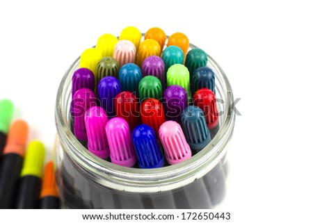 Lots of Assorted Colors Marker Pens - stock photo