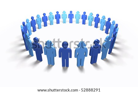 Lots of blue 3D men and women standing in a circle, isolated - stock photo