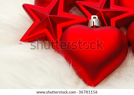 Lots of Christmas decorations hearts and starts - stock photo