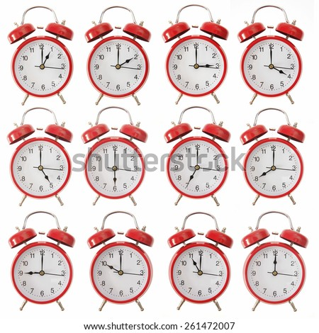 Lots of clocks showing the hour - stock photo