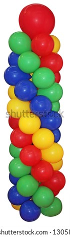 Lots of colorful balloons isolated on white background - stock photo