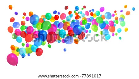 Lots of colorful birthday party balloons flying on white background - stock photo