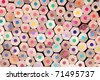 lots of colorful crayons - school time - stock photo