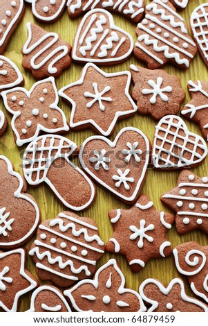 lots of delicious gingerbreads on green - sweet food - stock photo