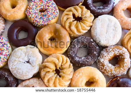 lots of donuts - different kinds - view from above - stock photo