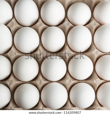 Lots of eggs close up with a top down view - stock photo