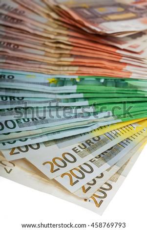 lots of euro bills on white  - stock photo