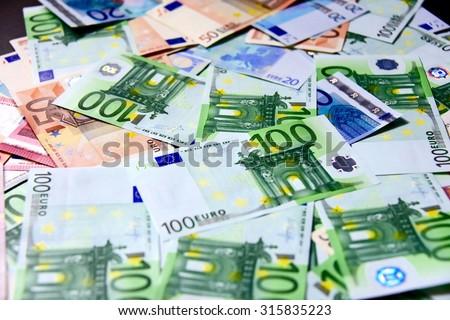 Lots of euros - stock photo