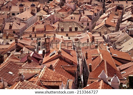 Lots of old red roof tiles - detail of the beautiful town in Dubrovnik, Croatia - stock photo