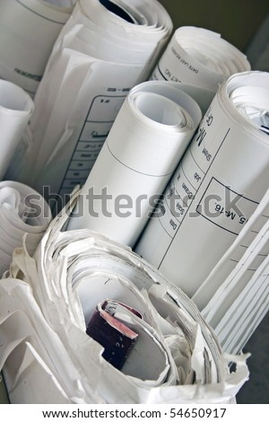Lots of old rolls drawing. - stock photo