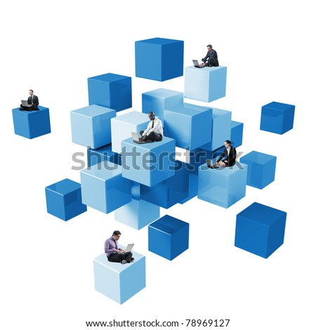 lots of people sit on 3d abstract cube using laptop - stock photo