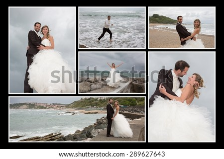 Lots of pictures of a wedding couple - stock photo