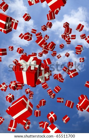 Lots of red gift boxes flying in the air - stock photo