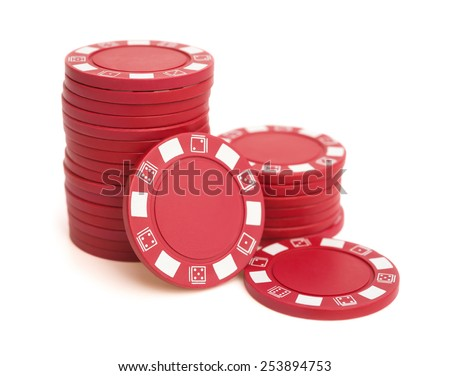 lots of red poker chips on white with clipping path - stock photo