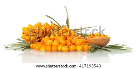 Lots of sea-buckthorn with berries and a spoon isolated on white background. - stock photo