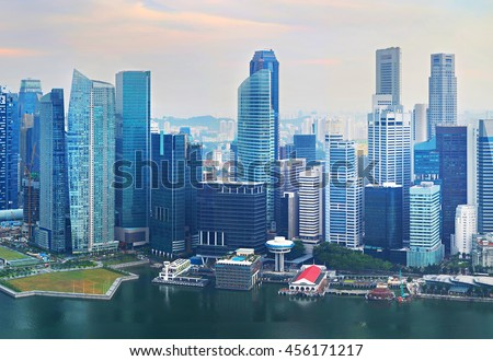 Lots of skyscrapers in Singapore Downtown. Aerial view - stock photo