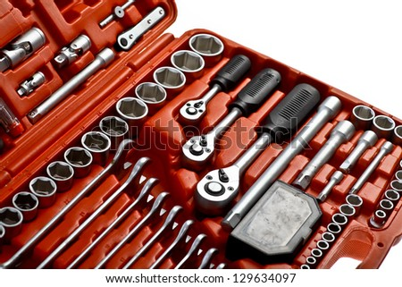 Lots of tools arranged in a tollbox - stock photo