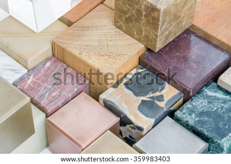 lots of various cubes made of different materials - stock photo