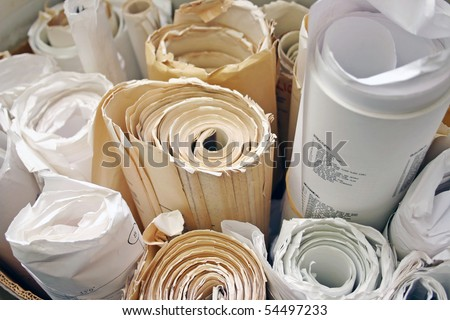 Lots of yellow paper old drawing. - stock photo