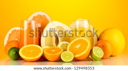 Lots ripe citrus isolated on white - stock photo