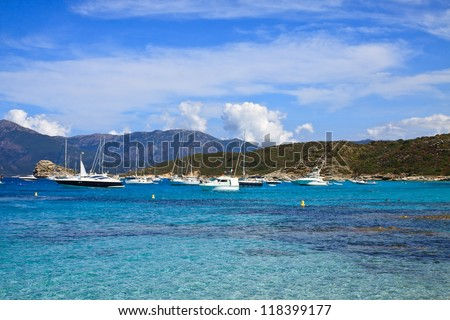 Lotu beach, Saint Florent city, Corsica, France - stock photo