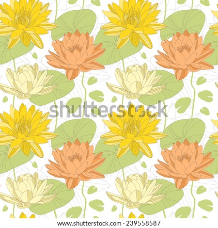 Lotus and water lily flowers in seamless pattern. - stock photo