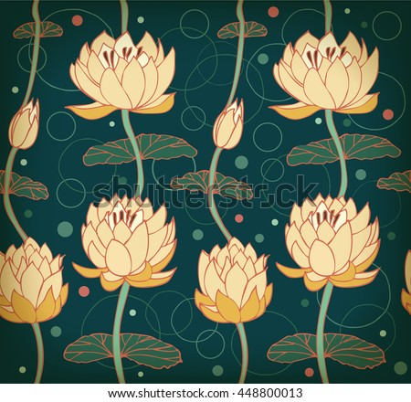 Lotus deep blue background. Floral pattern with water lilies. Seamless lace backdrop can be used for greeting cards, arts, wallpapers, web pages, surface texture, clothes, prints - stock photo