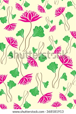 Lotus Flower Pattern Background - stock photo
