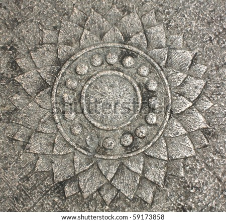 Lotus Flower- Stone carving - stock photo