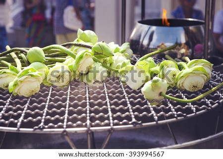 Lotus for Buddhist religious ceremony. Close up - stock photo