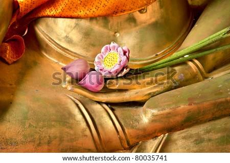 Lotus in hand image of buddha - stock photo