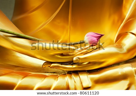 Lotus in hand image of buddha - stock photo