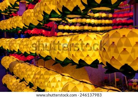 lotus lanterns at night - stock photo