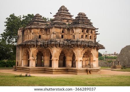 Lotus Mahal - queens mansion in Hampi - stock photo