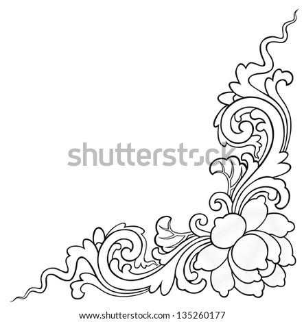 lotus painting on white background for decorative corner of the frame - stock photo