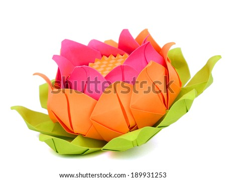 Lotus paper, origami flower - stock photo