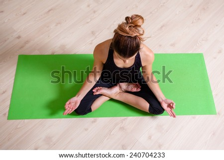 lotus position from above - stock photo