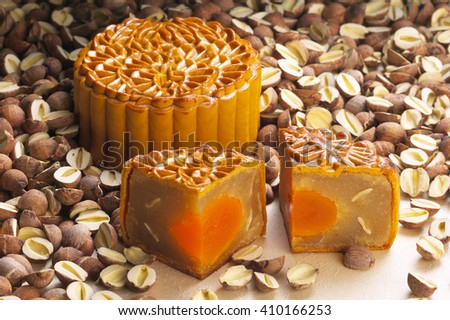 Lotus single yolk moon cake - stock photo