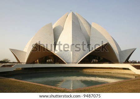 lotus temple in the evening sky, delhi, india - stock photo