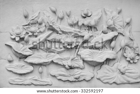 Lotuses are shown in cement plaster, Thailand - stock photo