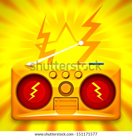 Loud music from boombox - stock photo