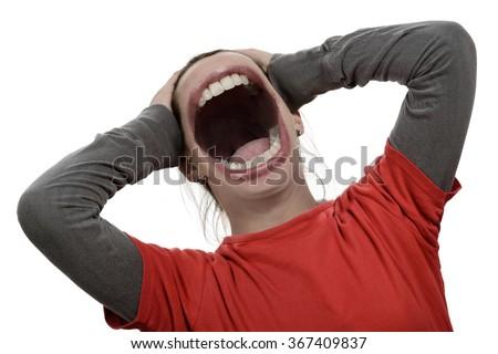 Loud noisy screaming - stock photo