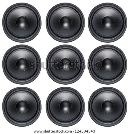 Loud Speakers Woofer on white - stock photo
