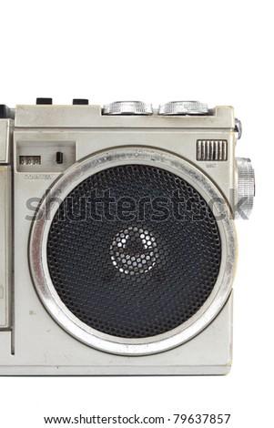 Loudspeaker, A loudspeaker on a classic cassette player. - stock photo
