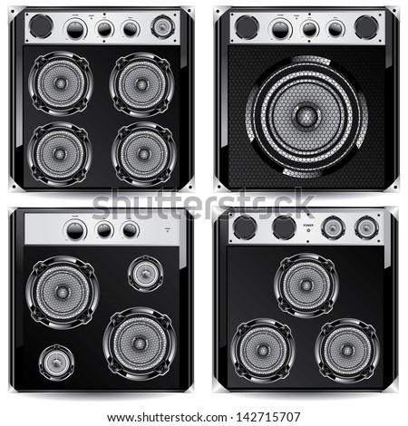 Loudspeaker acoustic system  Isolated on white background - stock photo