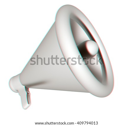 Loudspeaker as announcement icon. Illustration on white . 3D illustration. Anaglyph. View with red/cyan glasses to see in 3D. - stock photo