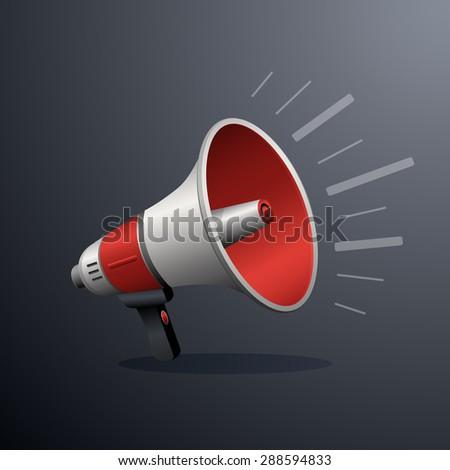 Loudspeaker or megaphone icon isolated on white background. Symbol of social media or promotion or online marketing. illustration - stock photo