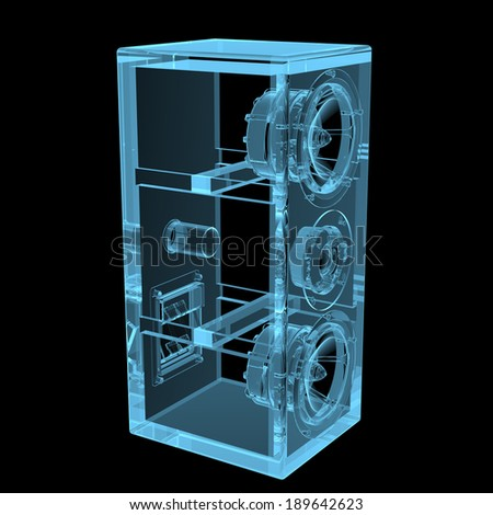 Loudspeaker x-ray blue transparent isolated on black - stock photo