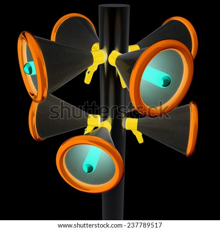Loudspeakers as announcement icon. Illustration on black - stock photo