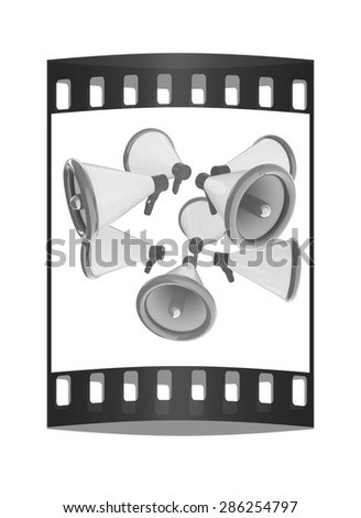 Loudspeakers as announcement icon. Illustration on white. The film strip - stock photo